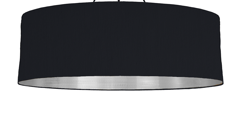Black & Brushed Silver Lampshade - 100cm Wide