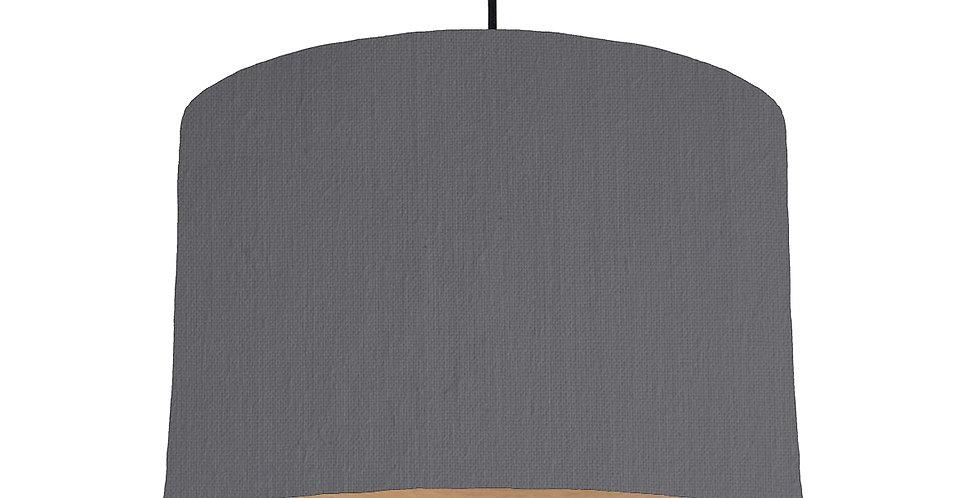 Dark Grey & Wood Lined Lampshade - 30cm Wide