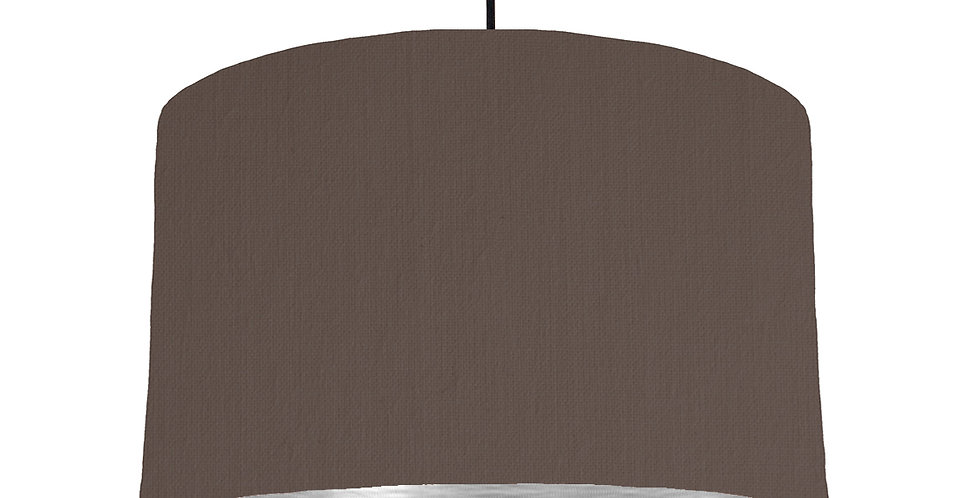 Brown & Brushed Silver Lampshade - 40cm Wide