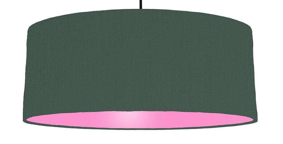 Bottle Green & Pink Lampshade - 70cm Wide