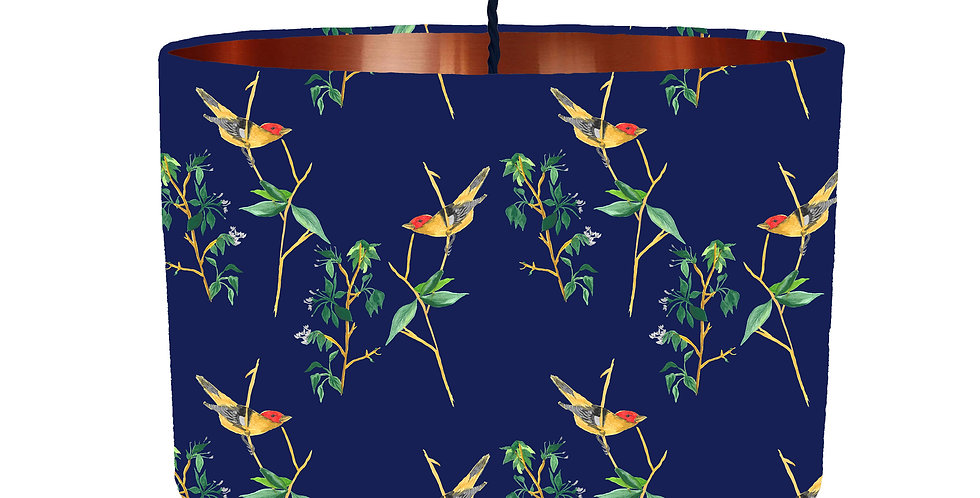 Midnight Botanical Lampshade - Metallic Lining