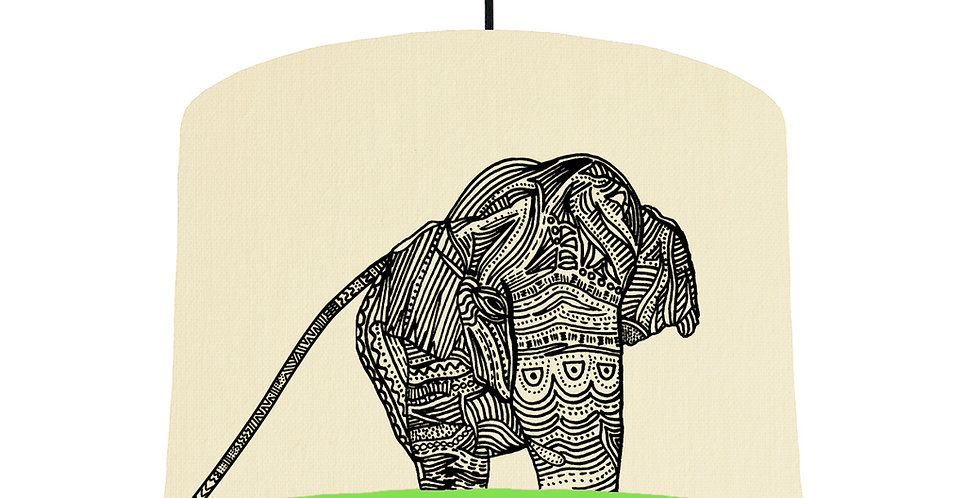 Elephant - Natural & Lime Green