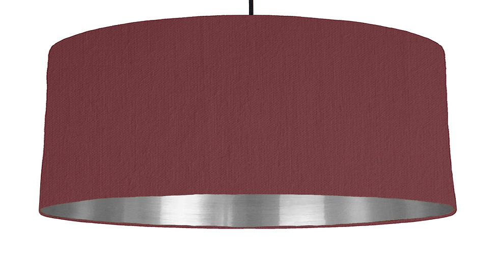 Wine Red & Silver Mirrored Lampshade - 70cm Wide