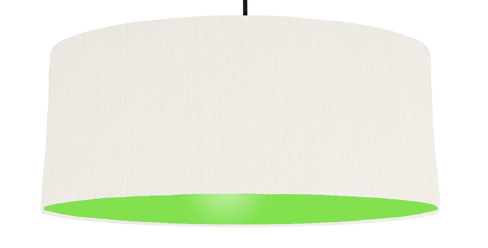 White & Lime Green Lampshade - 70cm Wide