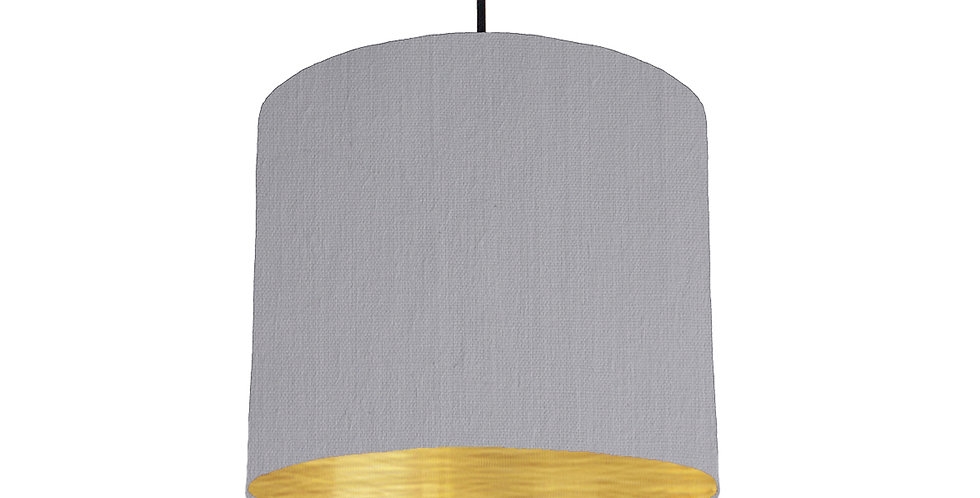 Light Grey & Brushed Gold Lampshade - 25cm Wide
