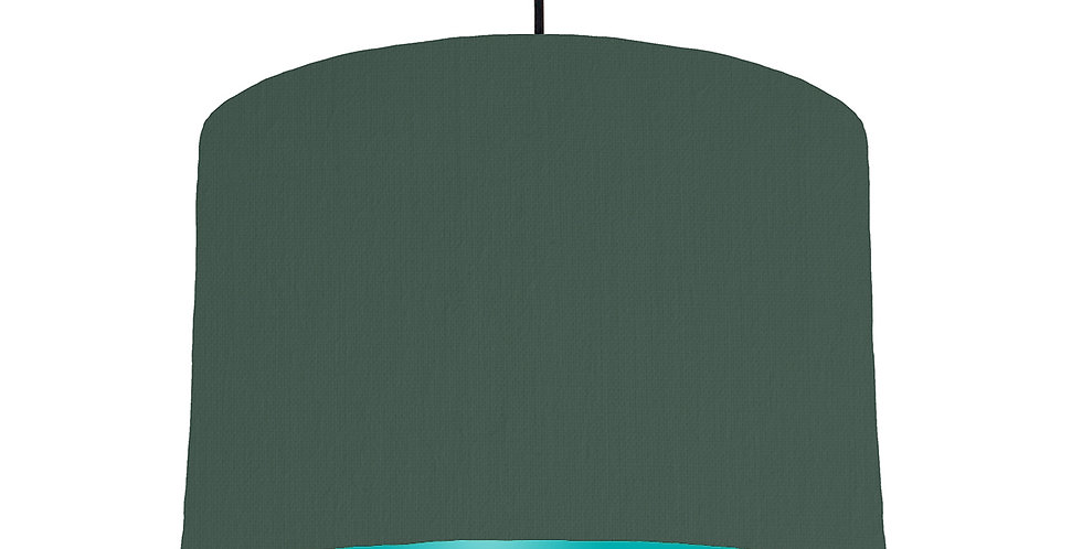 Bottle Green & Turquoise Lampshade - 30cm Wide