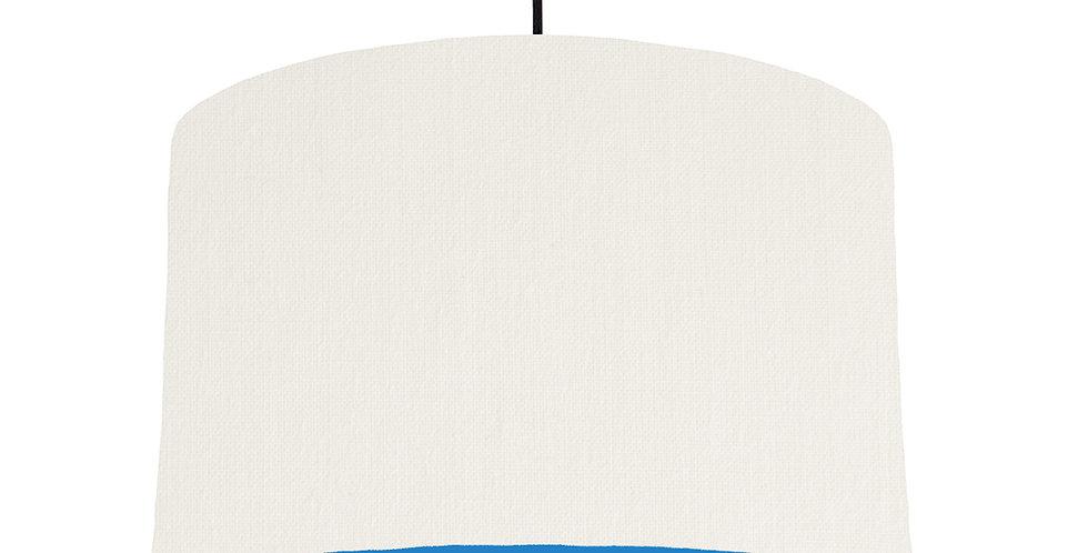 White & Bright Blue Lampshade - 40cm Wide