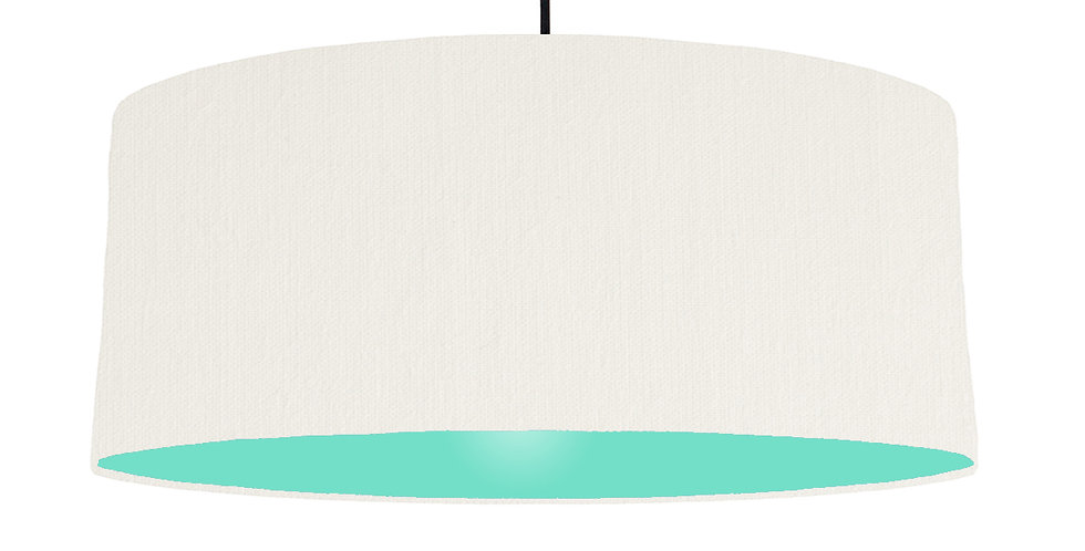 White & Mint Lampshade - 70cm Wide