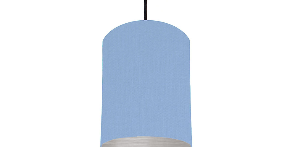 Sky Blue & Brushed Silver Lampshade - 15cm Wide