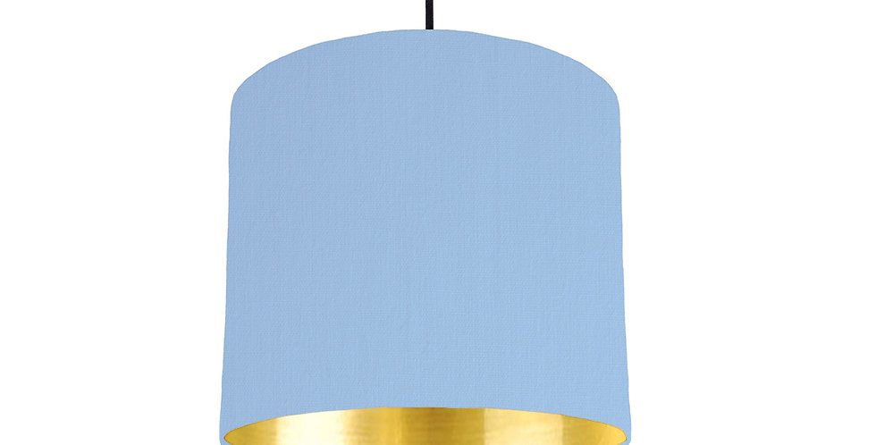 Sky Blue & Gold Mirrored Lampshade - 25cm Wide