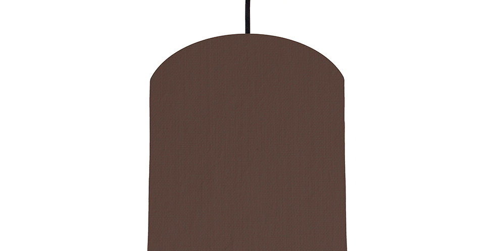 Brown & Brushed Silver Lampshade - 20cm Wide