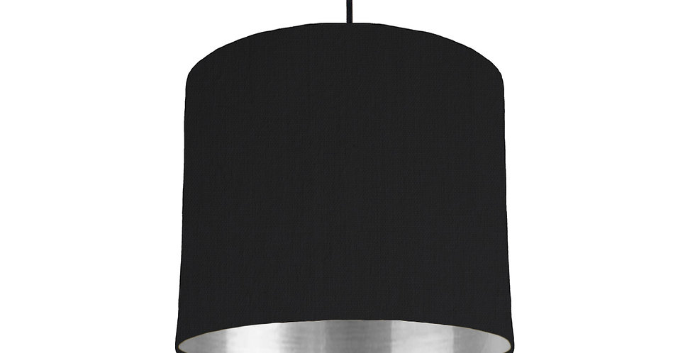 Black & Silver Mirrored Lampshade - 25cm Wide