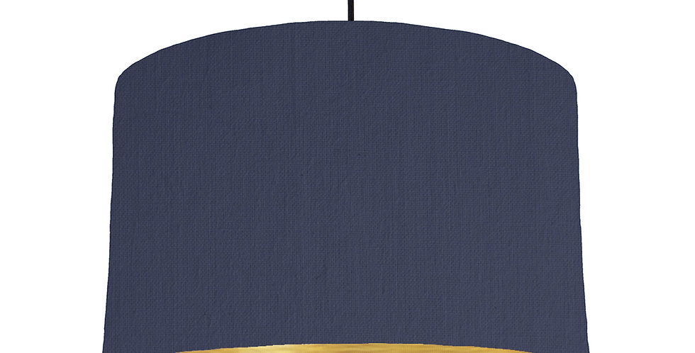 Navy Blue & Brushed Gold Lampshade - 40cm Wide