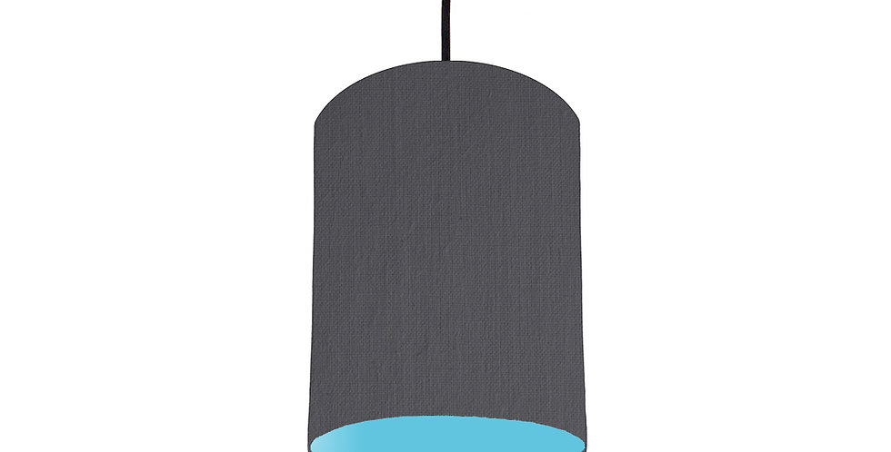 Dark Grey & Light Blue Lampshade - 15cm Wide