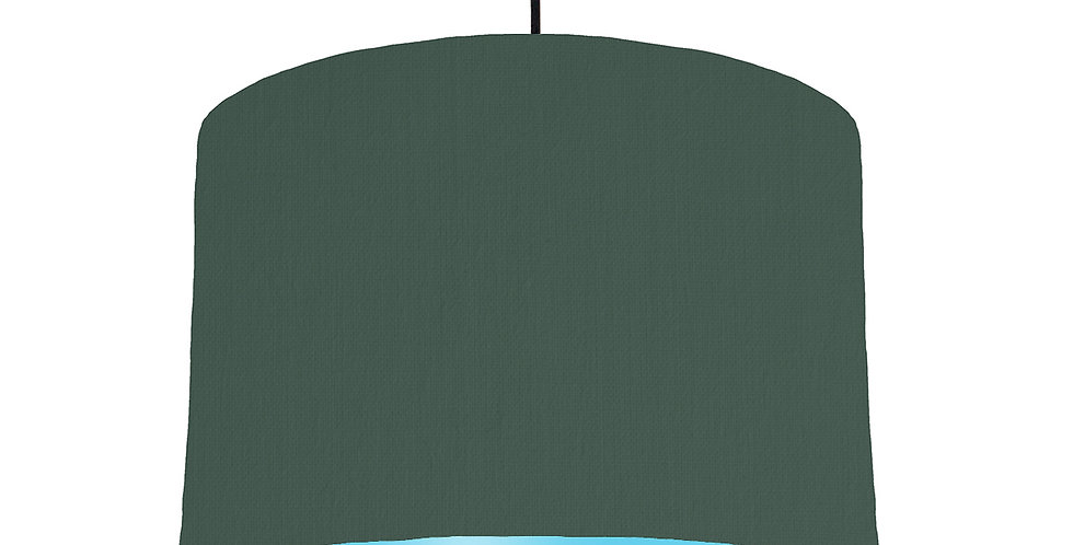 Bottle Green & Light Blue Lampshade - 30cm Wide