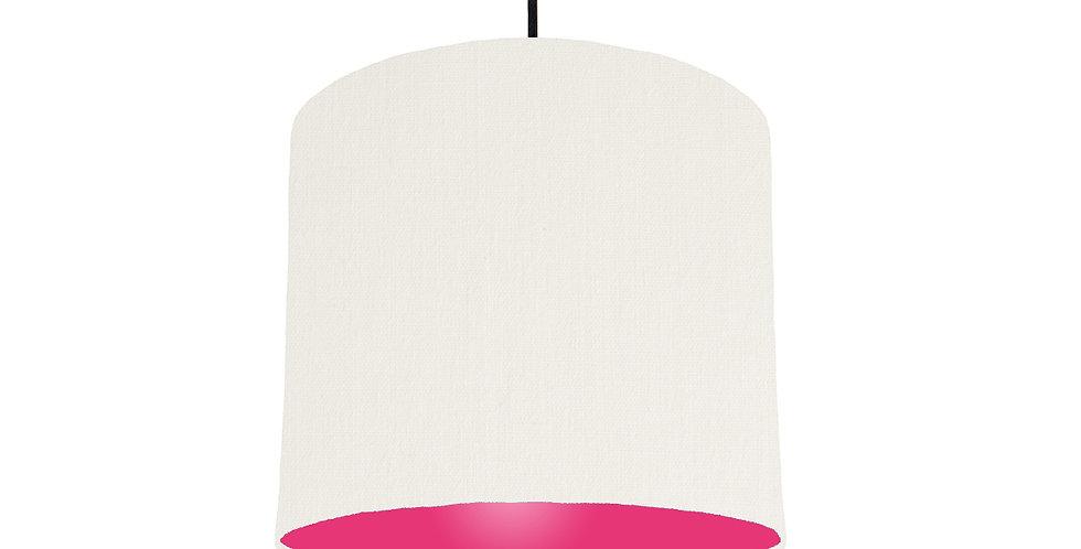 White & Magenta Lampshade - 25cm Wide