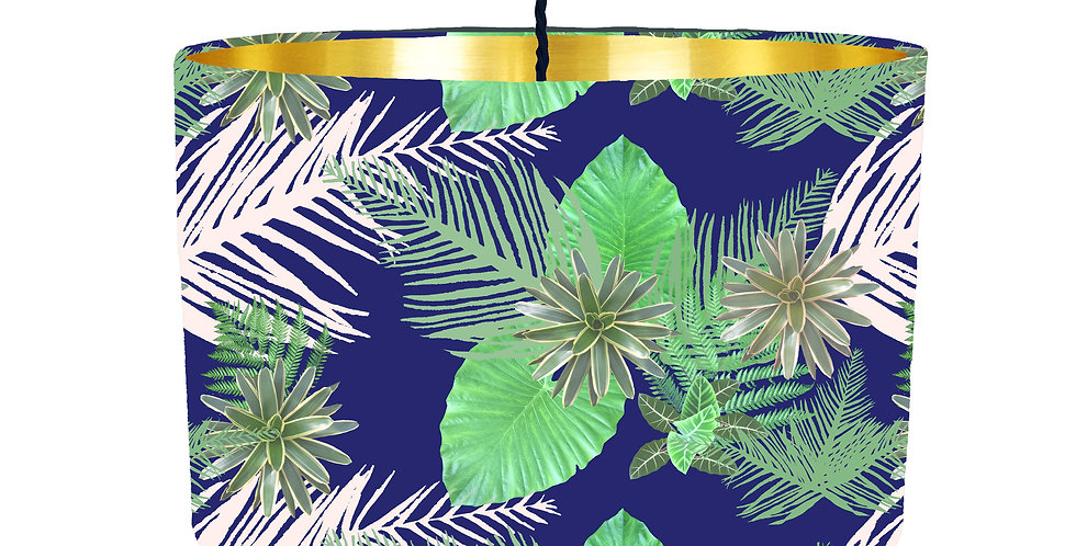 Tropical Leaf Lampshade (Blue) - Metallic Lining