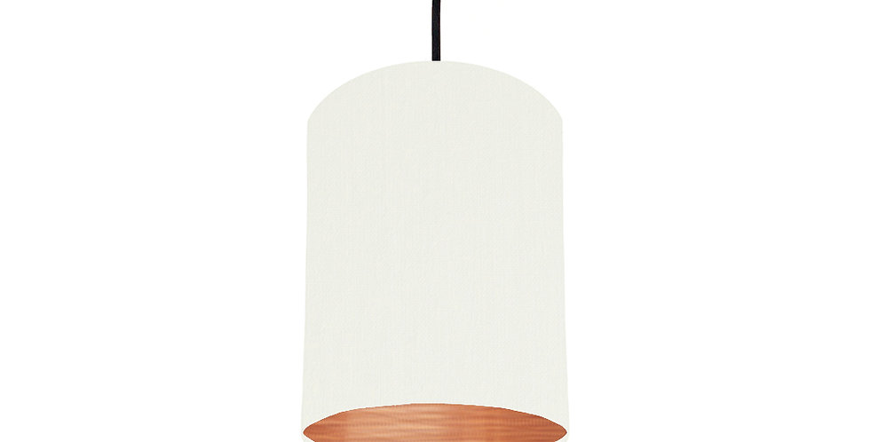 White & Brushed Copper Lampshade - 15cm Wide