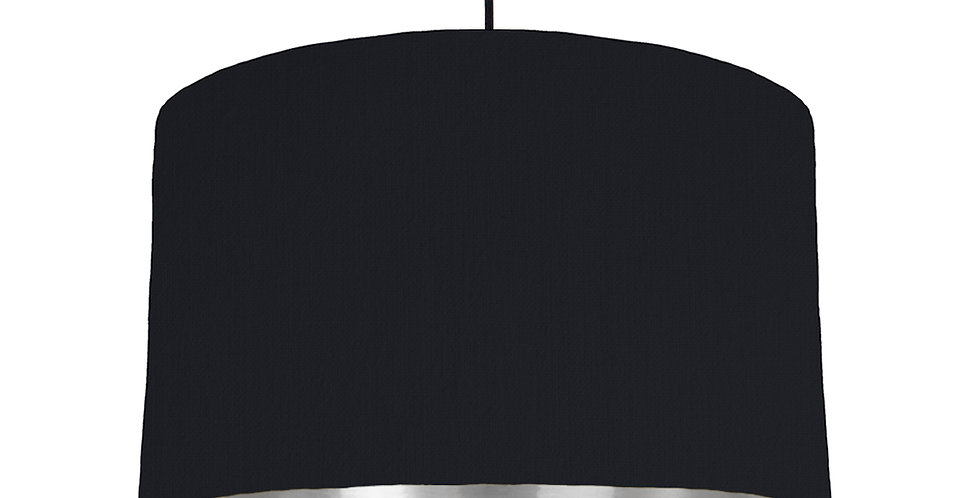 Black & Silver Mirrored Lampshade - 40cm Wide