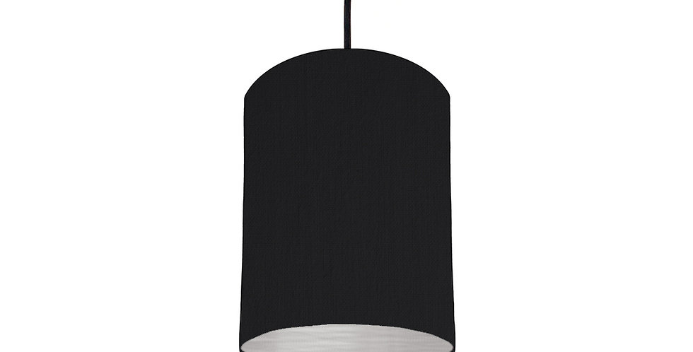 Black & Brushed Silver Lampshade - 15cm Wide