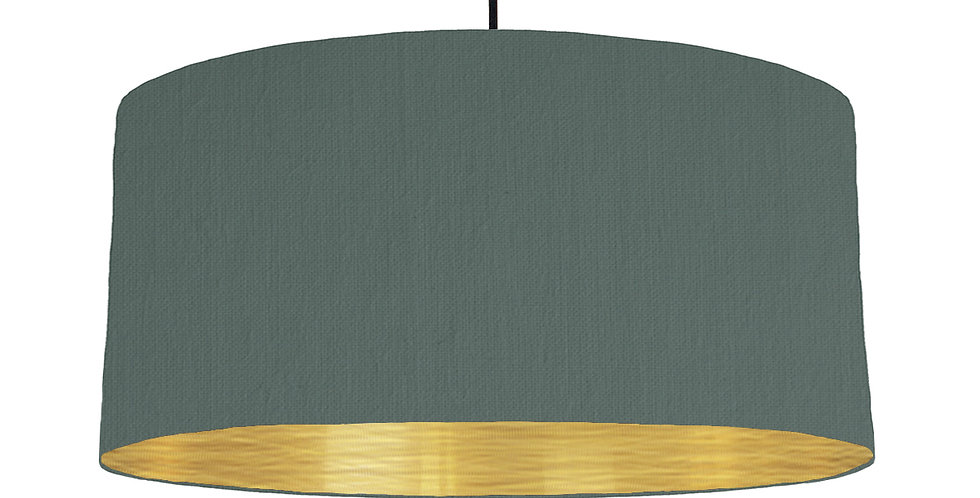 Bottle Green & Brushed Gold Lampshade - 60cm Wide