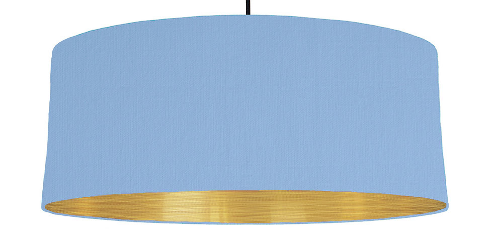 Sky Blue & Brushed Gold Lampshade - 70cm Wide