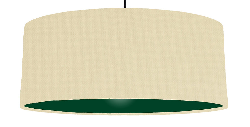 Natural & Forest Green Lampshade - 70cm Wide