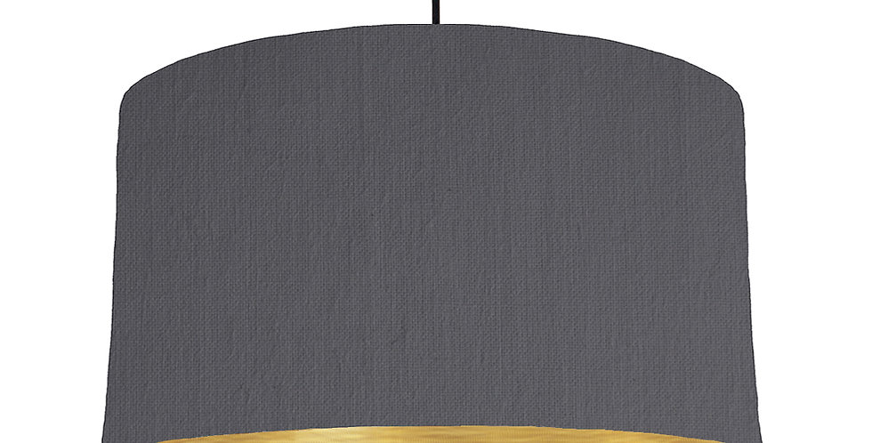 Dark Grey & Brushed Gold Lampshade - 50cm Wide