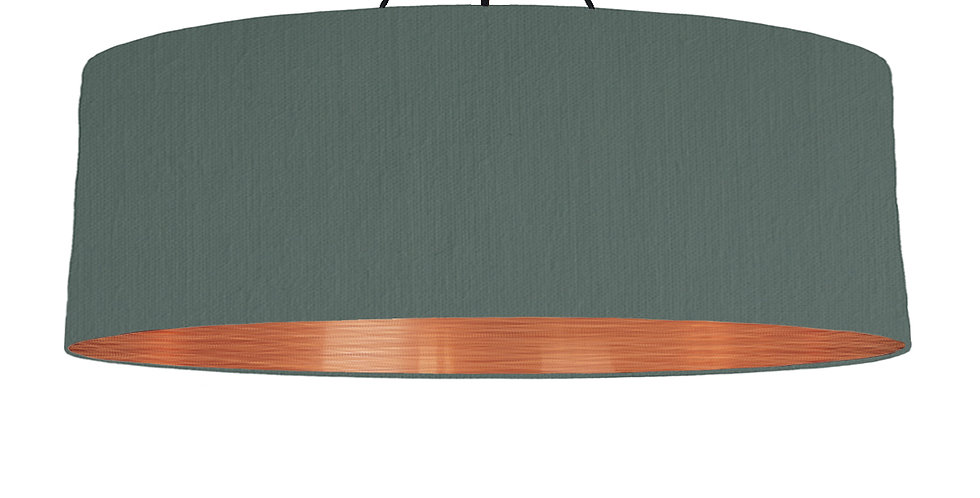 Bottle Green & Brushed Copper Lampshade - 100cm Wide