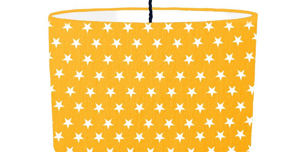 Yellow Star Lampshade - White Lining