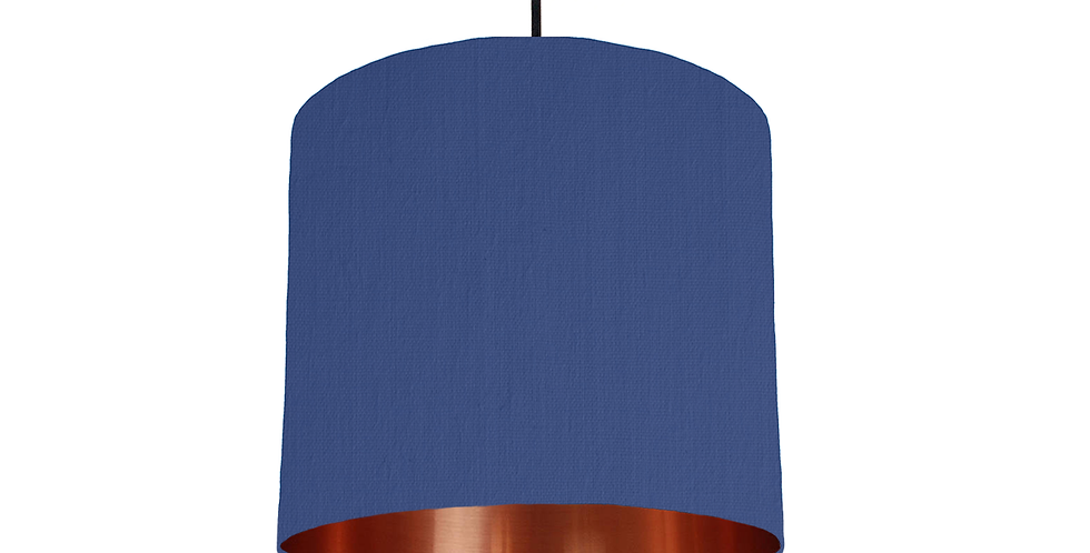 Royal Blue & Copper Mirrored Lampshade - 25cm Wide