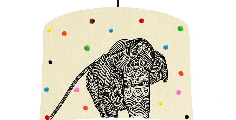 Elephant Pom Pom Lampshade - White Lining