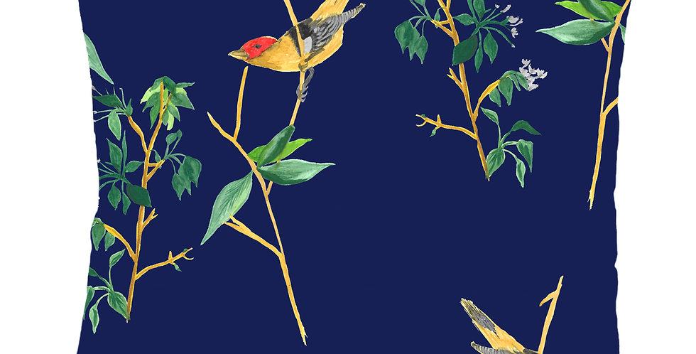 Midnight Botanical Bird Velvet Cushion