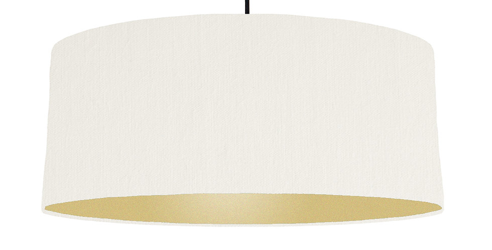 White & Gold Matt Lampshade - 70cm Wide