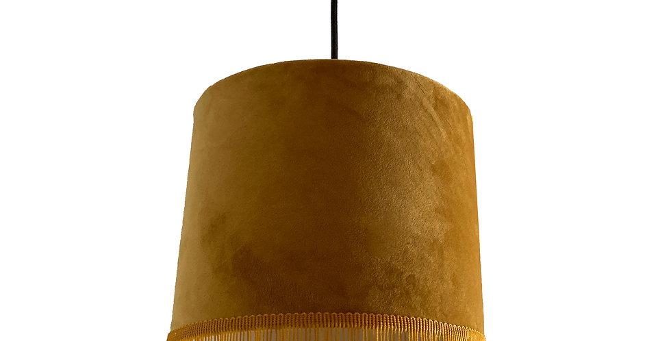 Mustard Velvet Lampshade With Trim