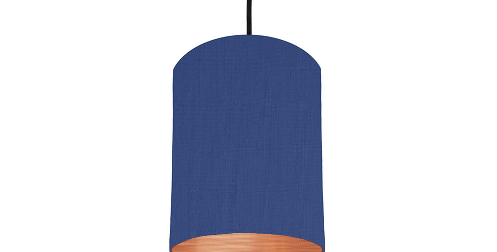 Royal Blue & Brushed Copper Lampshade - 15cm Wide