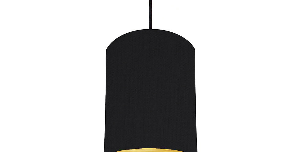 Black & Brushed Gold Lampshade - 15cm Wide