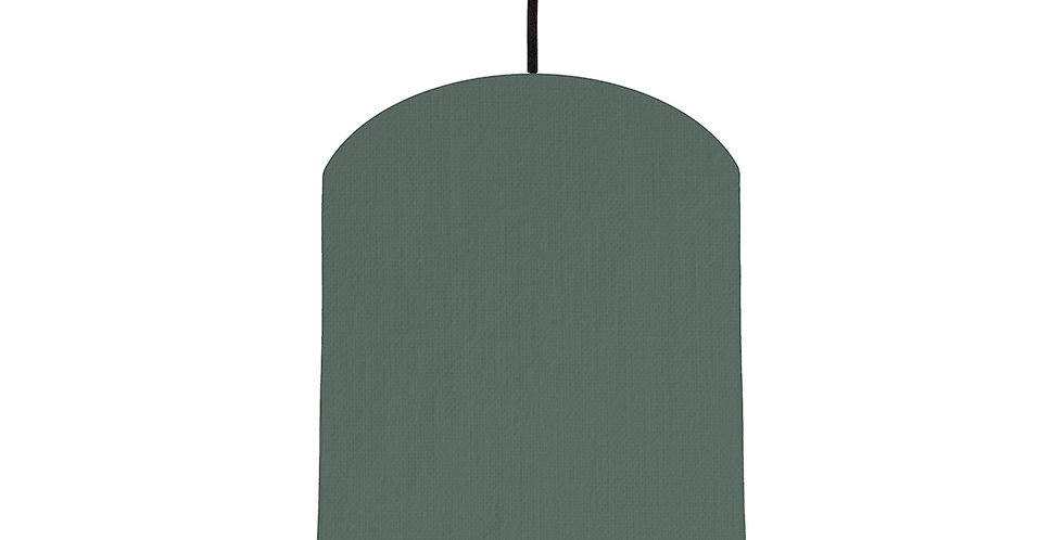 Bottle Green & Brushed Silver Lampshade - 20cm Wide