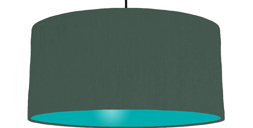 Bottle Green & Turquoise Lampshade - 60cm Wide