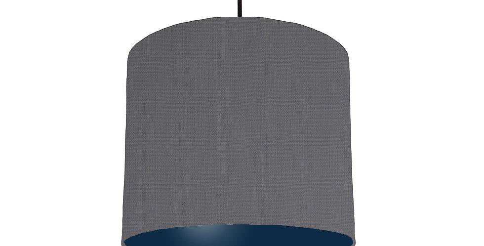 Dark Grey & Navy Lampshade - 25cm Wide