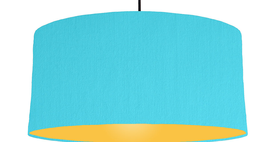 Turquoise & Butter Yellow Lampshade - 60cm Wide