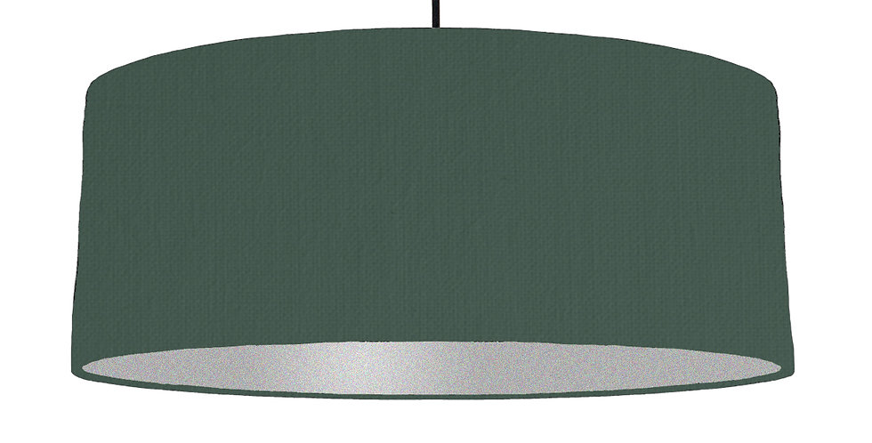 Bottle Green & Silver Matt Lampshade - 70cm Wide