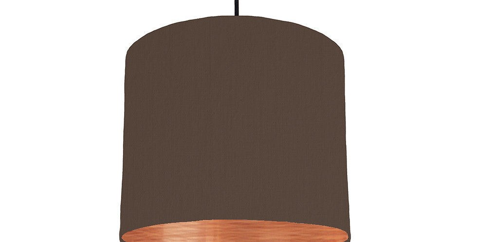 Brown & Brushed Copper Lampshade - 25cm Wide