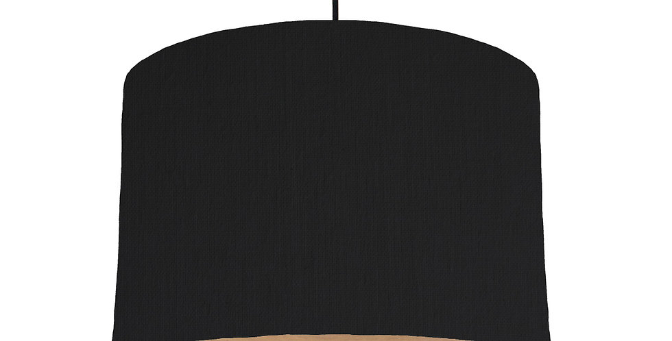 Black & Wood Lined Lampshade - 30cm Wide