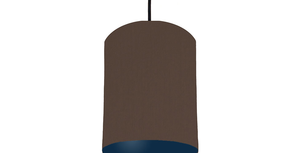 Brown & Navy Blue Lampshade - 15cm Wide