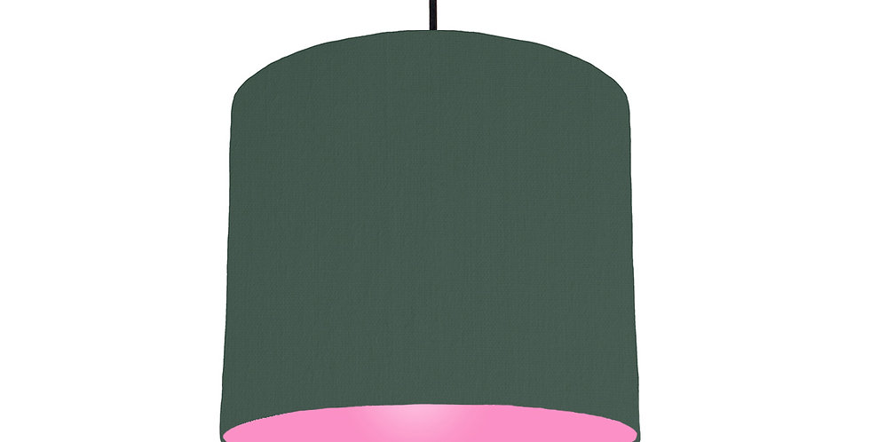 Bottle Green & Pink Lampshade - 25cm Wide
