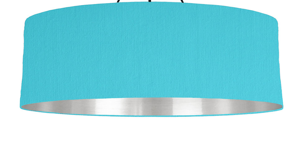Turquoise & Silver Mirrored Lampshade - 100cm Wide
