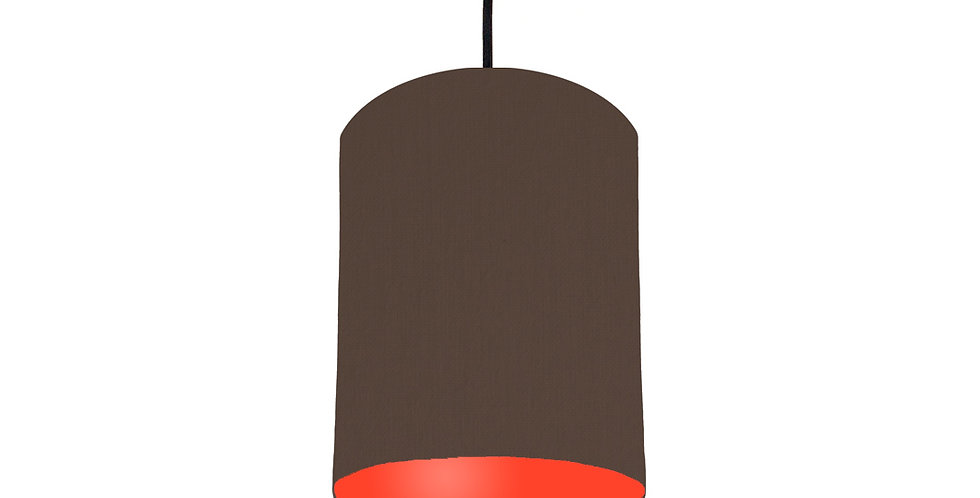 Brown & Poppy Red Lampshade - 15cm Wide