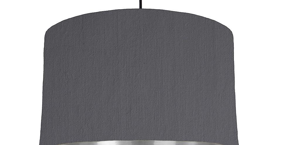 Dark Grey & Silver Mirrored Lampshade - 40cm Wide