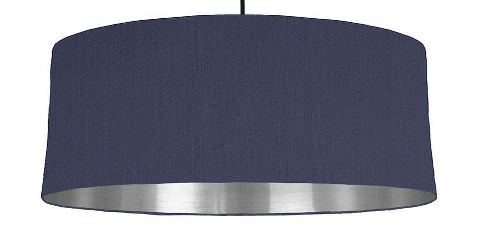 Navy & Silver Mirrored Lampshade - 70cm Wide